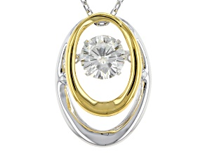 Pre-Owned Moissanite Platineve Two-Tone Pendant With Chain 1.00ctw D.E.W