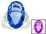 Pre-Owned Blue color change fluorite rhodium over silver ring 11.12ctw