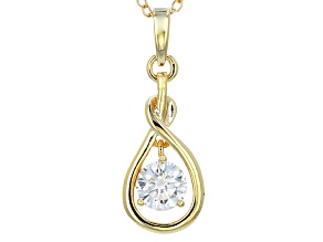 Pre-Owned Moissanite Pendant 14k Yellow Gold Over Silver .60ctw DEW
