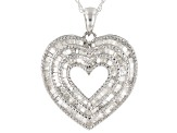 Pre-Owned White Diamond Rhodium Over Sterling Silver Pendant With 1.00ctw