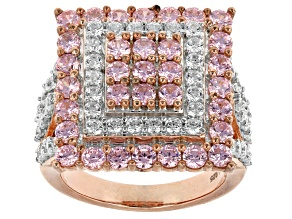 Pre-Owned Pink And White Cubic Zirconia 18k Rose Gold Over Silver Ring 6.15ctw (3.13ctw DEW)