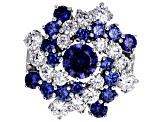 Pre-Owned Blue & White Cubic Zirconia Rhodium Over Sterling Silver Cluster Ring 7.97ctw