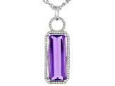 Pre-Owned Blue color change fluorite rhodium over silver pendant with chain 8.76ctw