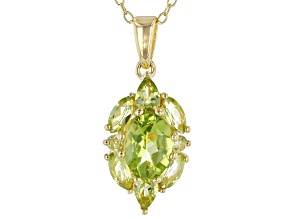 Pre-Owned Green peridot 18k gold over silver pendant with chain 1.95ctw