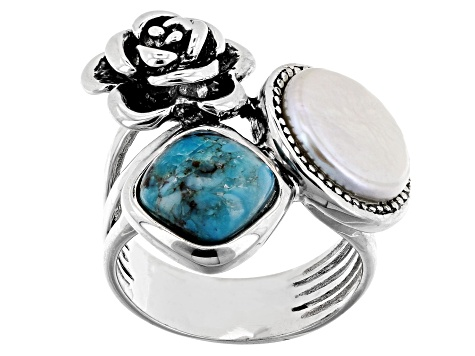 Pre-Owned 10.5-11mm White Cultured Freshwater Pearl & Turquoise, Rhodium Over Sterling Silver Ring