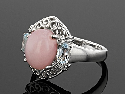 Pre-Owned Pink opal rhodium over sterling silver ring .45ctw