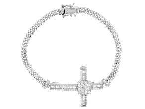 Pre-Owned White Cubic Zirconia Rhodium Over Sterling Silver Cross Bracelet 3.87ctw