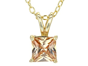 Pre-Owned 1.21ct Cubic Zirconia 18k Yellow Gold Over Sterling Silver Pendant With 18