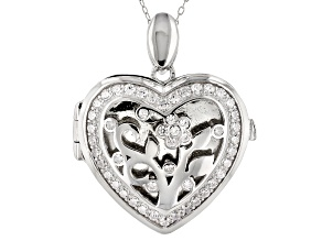 Pre-Owned White Cubic Zirconia Rhodium Over Sterling Silver Pendant With Chain 1.23ctw
