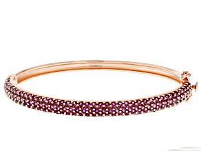 Pre-Owned Raspberry color rhodolite 18k gold over silver bracelet