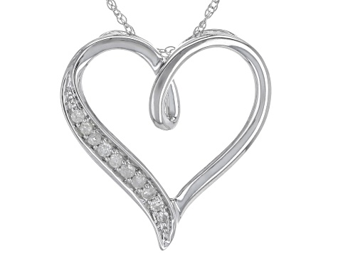 Pre-Owned White Diamond Rhodium Over Sterling Silver Pendant .10ctw