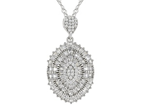 Pre-Owned white cubic zirconia rhodium over sterling silver pendant with chain 2.89ctw