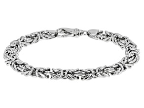 Pre-Owned Rhodium Over Sterling Silver 8MM Domed Polished Bold Byzantine Bracelet