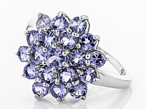 Pre-Owned Blue tanzanite rhodium over silver cluster ring 2.21ctw