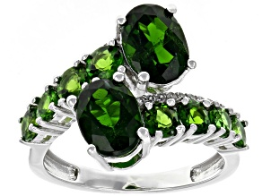 Pre-Owned Green chrome diopside rhodium over silver ring 3.85ctw
