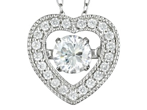 Pre-Owned Cubic Zirconia Rhodium Over Sterling Silver Heart Pendant With Chain .81ctw