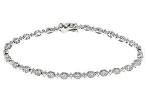 Pre-Owned White Cubic Zirconia Rhodium Over Sterling Silver Bracelet 1.50ctw