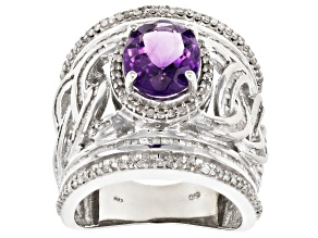 Pre-Owned Purple African amethyst rhodium over sterling silver ring 4.29ctw