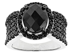 Pre-Owned Black Spinel Sterling Silver Ring 4.25ctw