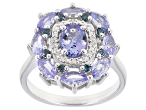 Pre-Owned Blue tanzanite rhodium over sterling silver ring 1.77ctw