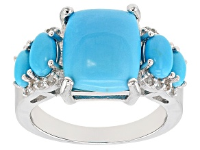 Pre-Owned Blue sleeping beauty turquoise rhodium over silver ring .17ctw