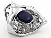 Pre-Owned Blue lapis lazuli sterling silver ring .50ctw