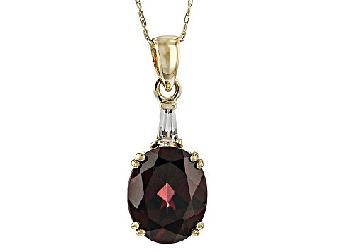 Pre-Owned Red Zircon 10k Yellow Gold Pendant With Chain 4.71ctw