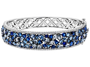 Pre-Owned Blue Synthetic Spinel & White Cubic Zirconia Rhodium Over Sterling Silver Bracelet 23.26ct