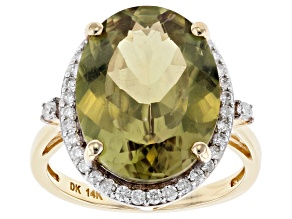 Pre-Owned Green Color Shift Turkish Diaspore 14k Gold Ring 7.46ctw