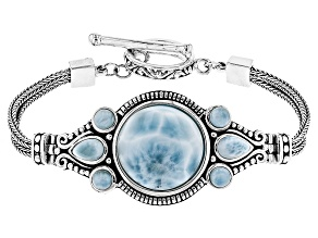Pre-Owned Round And Pear Shape Larimar Sterling Silver Bracelet