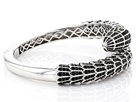 Pre-Owned Black Spinel Rhodium Over Silver Snake Bracelet 10.35ctw