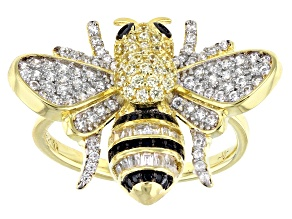 Pre-Owned Black, White and Yellow Cubic Zirconia 18K Yellow Gold Over Silver Bumblebee Ring