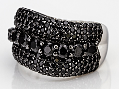 Pre-Owned Black Spinel Rhodium Over Silver Ring 3.15ctw