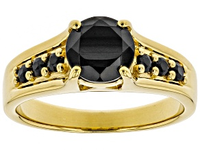 Pre-Owned Black spinel 18k yellow gold over sterling silver ring 1.48ctw