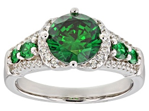 Pre-Owned Green & White Cubic Zirconia Rhodium Over Sterling Silver Ring 4.14ctw