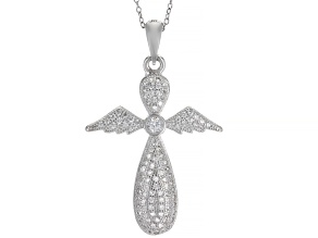 Pre-Owned White Cubic Zirconia Rhodium Over Silver Cross Pendant With Chain 0.85ctw