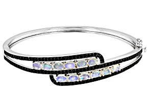 Pre-Owned Ethiopia Opal Rhodium Over Sterling Silver Bracelet 2.00ctw