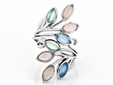 Pre-Owned Multi-Color Chalcedony Rhodium Over Sterling Silver Ring
