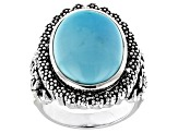 Pre-Owned Kingman Turquoise Rhodium Over Sterling Silver Ring