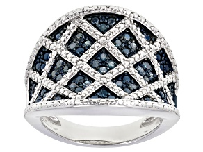 Pre-Owned Blue Diamond Rhodium Over Sterling Silver Ring 0.29ctw
