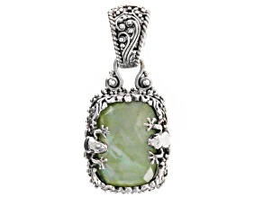 Pre-Owned Green Serpentine Triplet Silver Frog Pendant