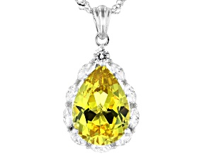 Pre-Owned Yellow Sapphire and White Cubic Zirconia Rhodium Over Sterling Silver Pendant With Chain 8