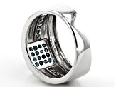 Pre-Owned Blue Diamond Rhodium Over Sterling Silver Gents Ring 0.42ctw