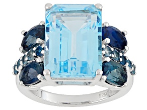 Pre-Owned Sky Blue Topaz Sterling Silver Ring 10.38ctw