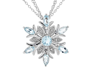 Pre-Owned Blue topaz sterling silver snowflake pendant with chain 2.52ctw