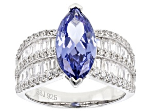 Pre-Owned Blue & White Cubic Zirconia Rhodium Over Sterling Silver Center Design Ring 7.48ctw