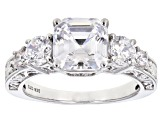 Pre-Owned White Cubic Zirconia Rhodium Over Sterling Silver Engagement Ring 5.73ctw