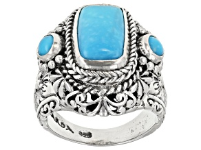 Pre-Owned Turquoise Blue Kingman Silver Ring
