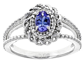 Pre-Owned Blue Tanzanite Rhodium Over Sterling Silver Ring .40ctw
