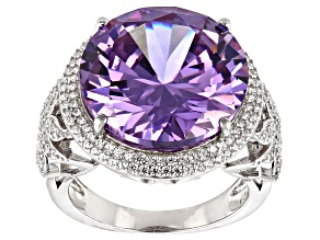 Pre-Owned Purple And White Cubic Zirconia Rhodium Over Sterling Silver Ring 24.05ctw